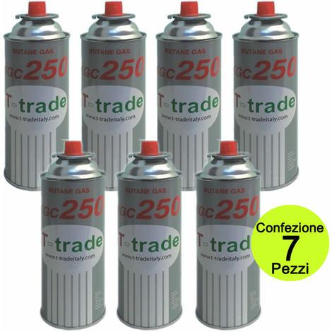 Multipack 7 pezzi bombole bombolette gas butano fornelli campeggio casa 250 grammi