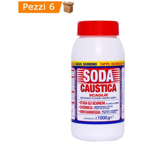 """main image of """"Multipack da 6 pz di soda caustica in scaglie barattoli da 1 kg ciascuno"""""""