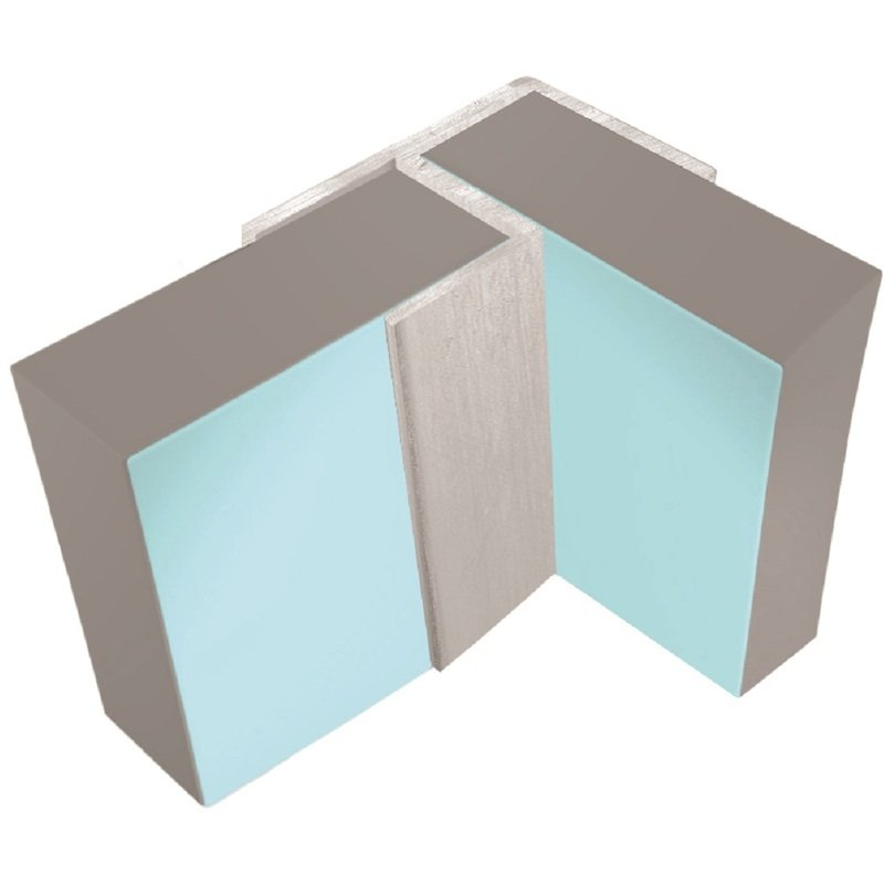 Image of Classic 11mm Wall Panel Flush Corner Trim Type 100 Satin Anodised - Multipanel