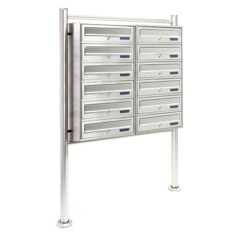 Multiple Outdoor Letterbox Standing Multi-slot Postbox 2x6 Stainless Steel Mailboxes