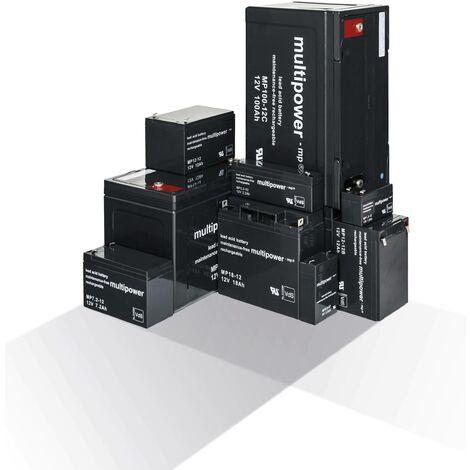Multipower Batterie au plomb gélifié 6V raccord 4,8 mm - 6V 3,3 Ah - 134 x 34 x 66 mm