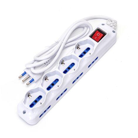 Multipresa Ciabatta Elettrica 12 Posti con cavo da 1,5m - 8 attacchi Bipasso + 4 attacchi Schuko