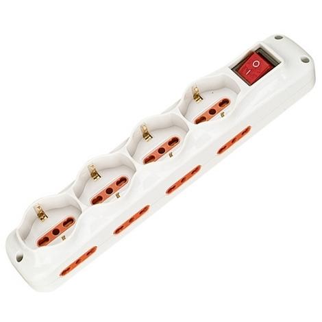 Multipresa Ciabatta Elettrica 12 Posti con cavo da 3m - 8 attacchi Bipasso + 4 attacchi Schuko