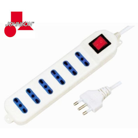 Multipresa Ciabatta Elettrica 6 Posti 10/16A Bipasso Con Interruttore Johnson