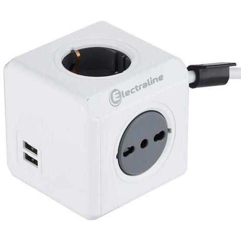 Multipresa Scarpetta Elettrica Cubo 4 Posti 2 Schuko + 2 Prese 16A + 2 USB Bianc