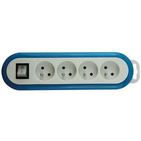 Multiprise À 4 Prises Avec Interrupteur - Bleu/Blanc - Terre Française