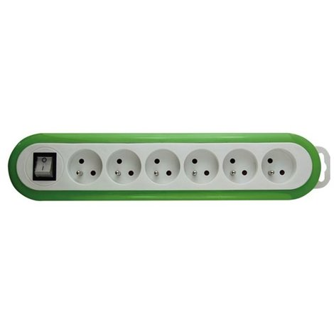 Multiprise À 6 Prises Avec Interrupteur - Vert/Blanc - Terre Française