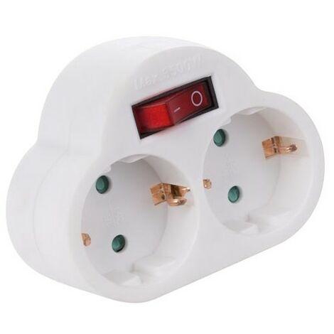 Multiprise Avec Interrupteur On/Off - 2 Prises (prise de terre Allemande)