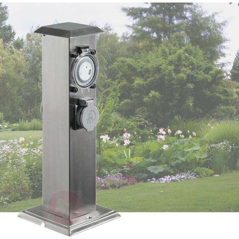 Multiprise Borne Inox 2 Prises Électriques Et Minuterie Pour Jardin Et Extérieur - Argent