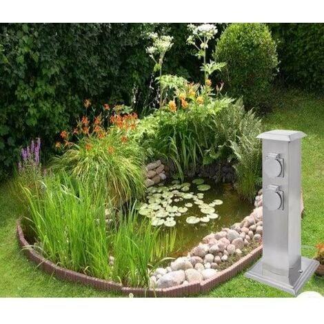 Multiprise Borne Inox 4 Prises Électriques Pour Jardin Et Extérieur - Argent