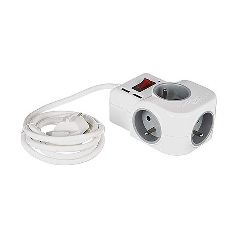 Multiprise compacte - 4x2P+T - 2 USB - Blanche