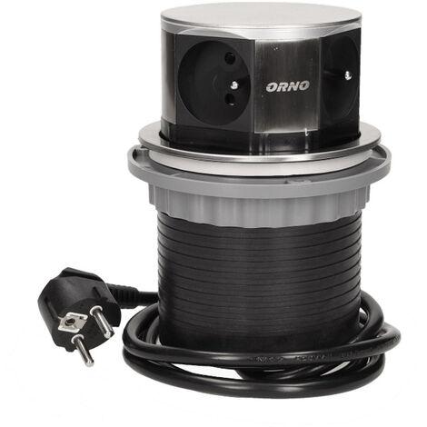 Multiprise escamotable cylindre 4 prises 230V - Orno