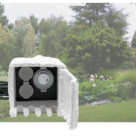 Multiprise étanche 2 Prises et 1 Minuterie pour bassins de jardin, massifs de fleurs - Blanc