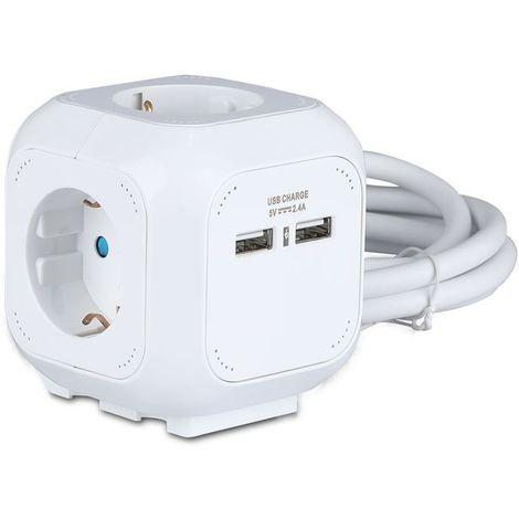 Multiprise V-tac VT-1154-2 - NL/DE (Type F) - Convient à 4 fiches - 2x USB 2.4A - Câble 1.5 mètre - Blanche