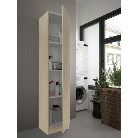 Multipurpose cabinet with one hinged door with three height-adjustable shelves, oak colour, 180 x 37 x 37 cm.