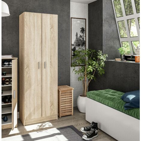 Multipurpose cabinet with two hinged doors with five height-adjustable shelves, oak colour, 180 x 59 x 37 cm