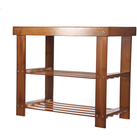Multipurpose Shoe Stools 50x30x45CM Solid Wood Storage Stool Double Layer Bamboo Shoe Rack