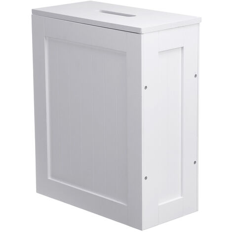 Multipurpose Wooden Bathroom Storage Box White