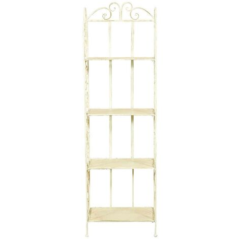 Multipurpose wrought iron made antique white finish l43xDP28,5xH146 cm collapsible ?tag?re