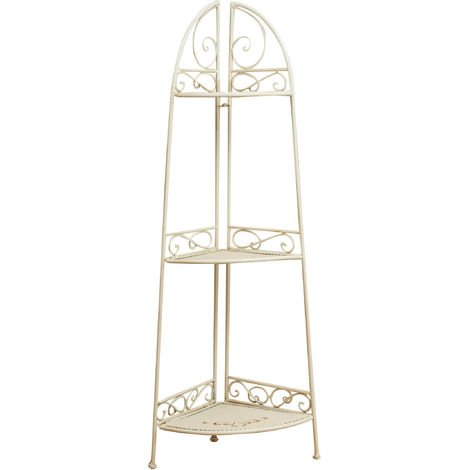 Multipurpose wrought iron made antiqued white finish W40xDP28xH110 cm sized collapsible corner ?tag?re