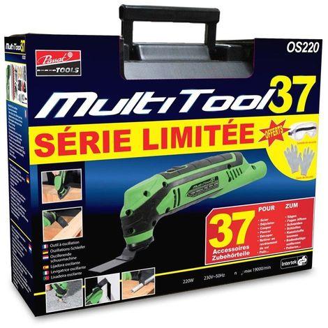 MULTITOOL 37 accessoires + gants et lunettes de sécurité gratuits inclus, système d'oscillation précis, outil maniable, puissant