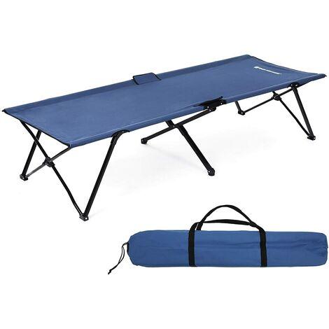 Multiuso Cama de Camping Catre Plegable con Bolsa de Transporte Carga MAX.de 260kg 206 x 75 x 45cm Negro/Verde/Azul