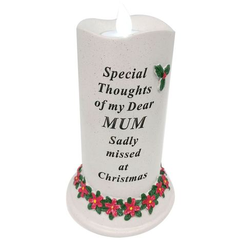 Mum LED Christmas Poinsetta Candle Flickering Light Ornament Memorial Tribute