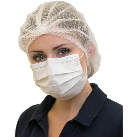 Mundschutz mit Gummibänder weiß 3-lagig 4320 Softprotect 1 Pack = 50 Stück NITRAS Medical - 1774