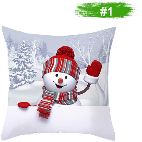 Muneco de nieve de la funda de almohada cubierta decoracion del hogar del amortiguador del sofa cubierta 450 * 450 mm, 1 #