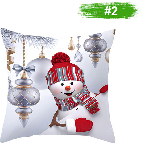 Muneco de nieve de la funda de almohada cubierta decoracion del hogar del amortiguador del sofa cubierta 450 * 450 mm, 2 #