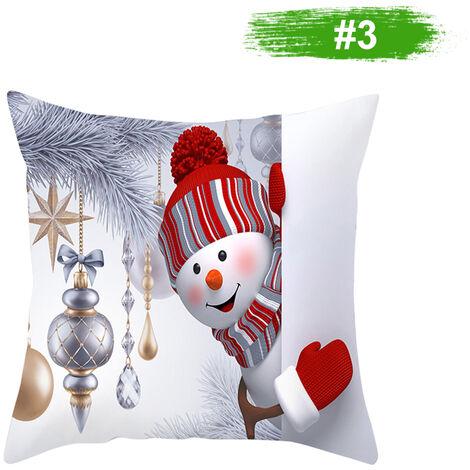 Muneco de nieve de la funda de almohada cubierta decoracion del hogar del amortiguador del sofa cubierta 450 * 450 mm, 3 #