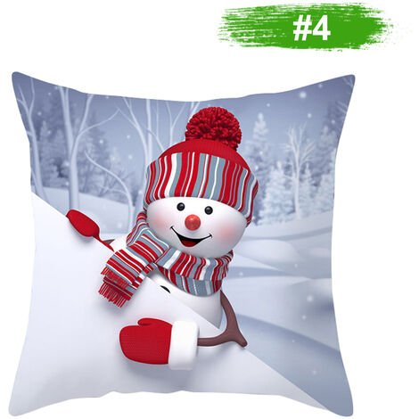 Muneco de nieve de la funda de almohada cubierta decoracion del hogar del amortiguador del sofa cubierta 450 * 450 mm, 4 #