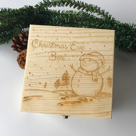 Muñeco de nieve grabado en madera Manzana Nochebuena Caja de regalo Decoración para niños 20Cm X 20Cm X 9Cm Sasicare