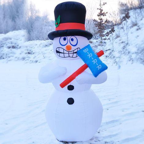 Muñeco de nieve inflable luminoso 180cm