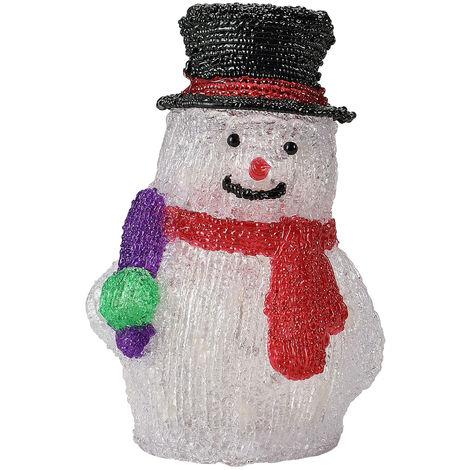 Muñeco de nieve - LED Decoracion de Navidad - Iluminación navideña - acrílico - 26,5 cm - blanco claro