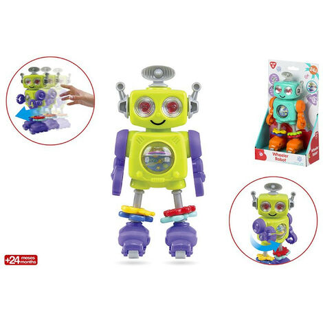 Muñeco robot infantil patinador de actividades, con original diseño y colores llamativos-Hogar y Mas Morado