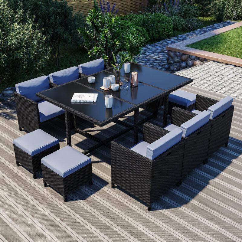 10 Places - Ensemble encastrable salon / table de jardin résine tressée - Noir/Gris - MUNGA 10B - Noir