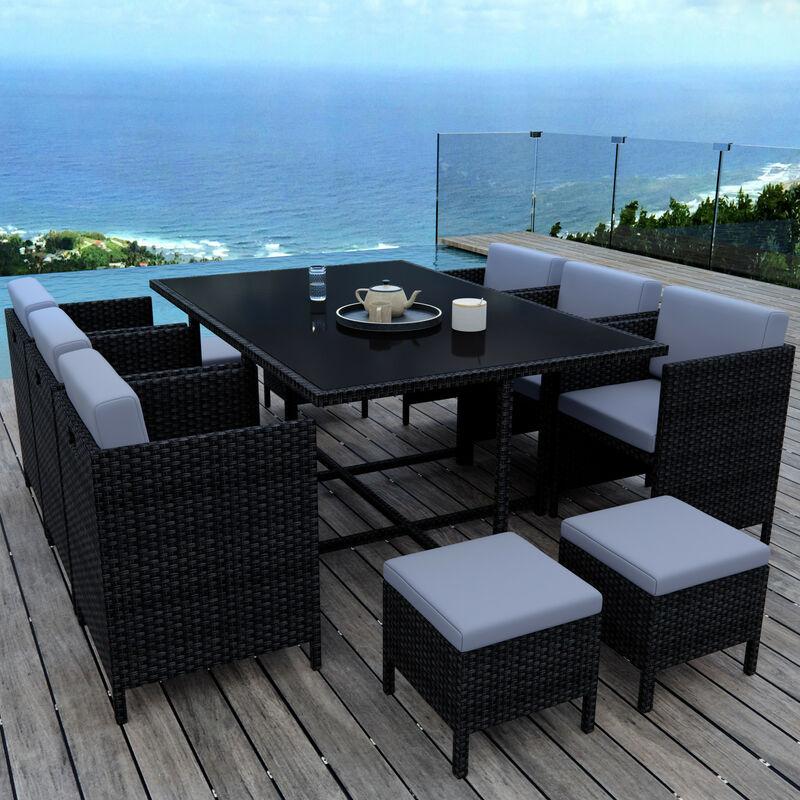 MUNGA 10 Places - Ensemble encastrable salon / table de jardin résine tressée - Noir/Gris - Noir
