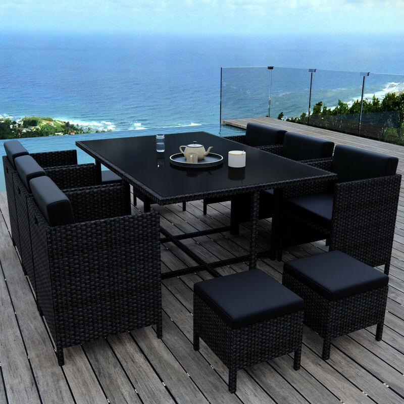 MUNGA 10 Places - Ensemble encastrable salon / table de jardin résine tressée - Noir - Noir
