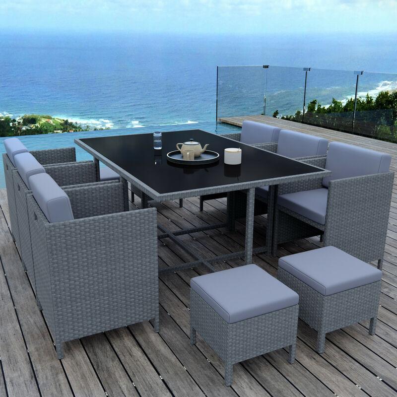 MUNGA 10 Places - Ensemble encastrable salon / table de jardin résine tressée - Gris/Gris - Gris