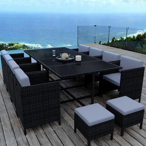 MUNGA 12 Places - Ensemble encastrable salon / table de jardin résine tressée-Noir/Gris - Noir