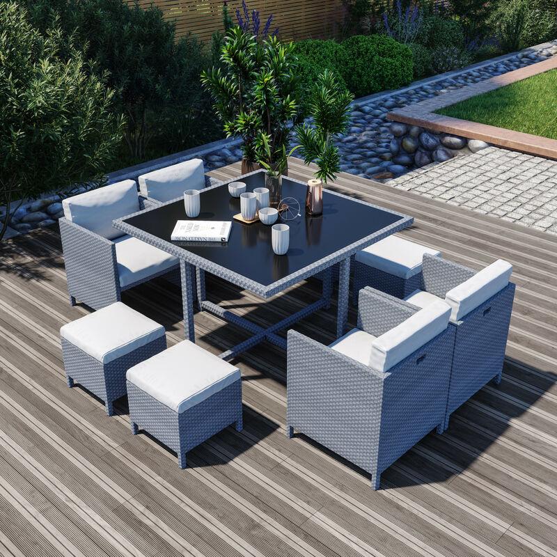 8 Places - Ensemble encastrable salon / table de jardin résine tressée - Gris / Ecru - MUNGA 8 - Gris