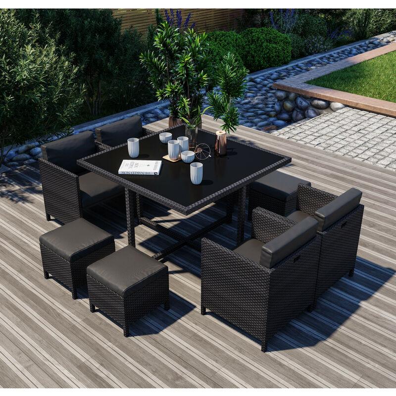 8 Places - Ensemble encastrable salon / table de jardin résine tressée - Noir - MUNGA 8 - Noir