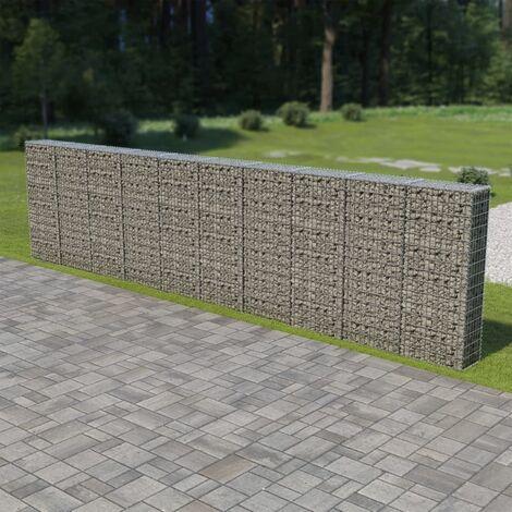 """main image of """"Mur à gabion avec couvercles Acier galvanisé Mur en gabion 600 x 30 x 150 cm"""""""