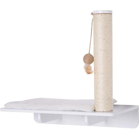 Mur d'escalade pour chat arbre à chat design mural griffoir sisal naturel boule de jeu et coussin amovible polaire kit fixation inclus MDF blanc
