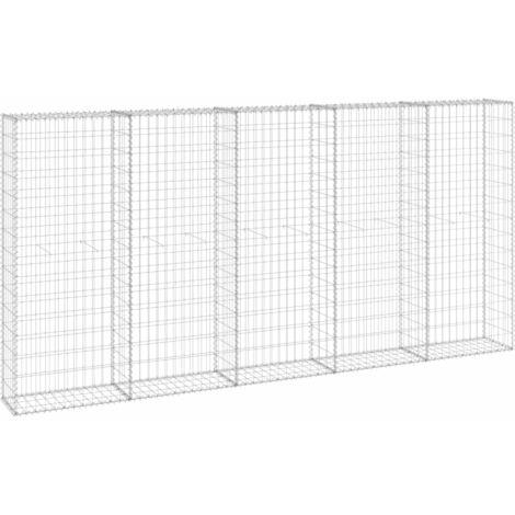 Mur en gabion avec couvercles Acier galvanisé 300x30x150 cm