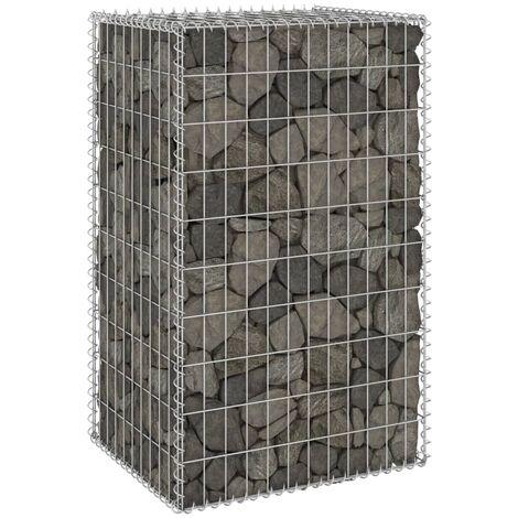 Mur en gabion avec couvercles Acier galvanisé 60x50x100 cm