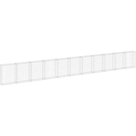 Mur en gabion avec couvercles Acier galvanisé 900x30x100 cm