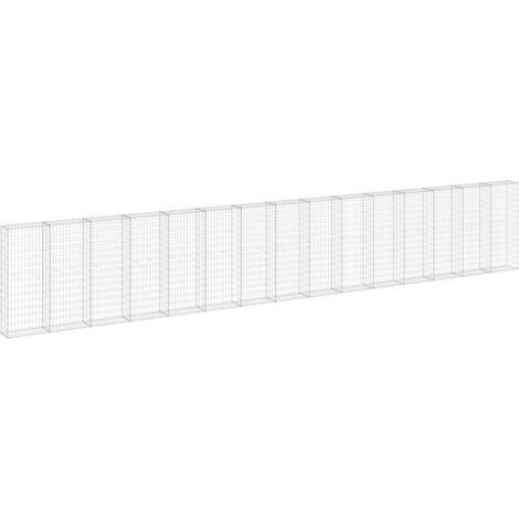 Mur en gabion avec couvercles Acier galvanisé 900x30x150 cm