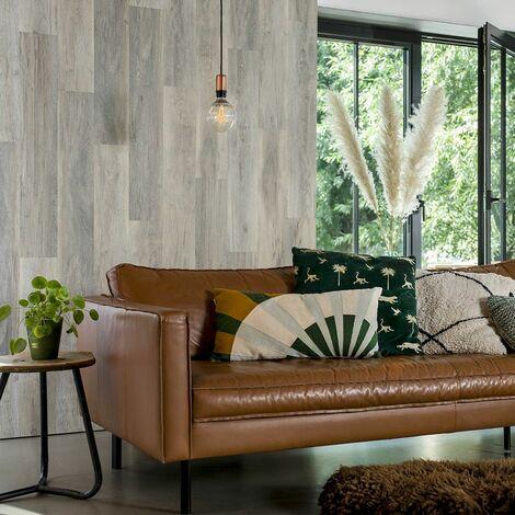Mur en Vinyle effet Bois de Chêne blanc - 15 panneaux muraux - 2,09m²